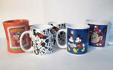 Disney Ceramic Mug Cup Set Lot of 5 Mickey Minnie Mouse Goofy Pete's Gym