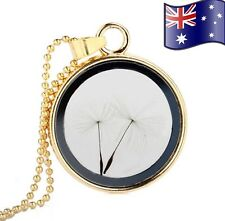 Dandelion Wishes Gold Glass Locket Pendant Necklace Women's Jewellery Gift
