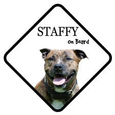 STAFFY Dog On Board Car Sign With Sucker Sticker Decal