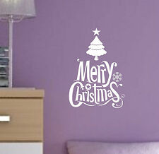 MERRY CHRISTMAS vinyl Quote Snowflakes winter holiday decal sticker wall art MS1