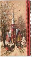 VINTAGE CHRISTMAS  WHITE TREE CHURCH DUSK SUNSET HORSE SLEIGH COLONIAL ART CARD