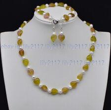 &White Pearl Necklace Bracelet Earrings 12mm Multi-Color Jade Heart-shape Gems