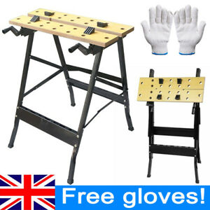 Foldable Wooden Workbench Bench Work Portable Clamping Folding Worktop Table UK