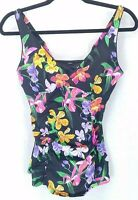 Lands' End Womens 8 Tankini Top Floral Underwire Adjustable Strap Ruched Swim