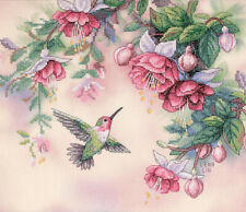 "Dimensions Stamped Cross Stitch Kit 14""X12""Hummingbird & Fuchsias"