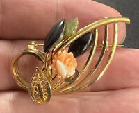 Vintage Gold Tone Coral Onyx Jade Floral Leaf Brooch Swirled Open Work Pin