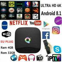 Q-Box Plus Quad Core 4GB+32GB Android 8.1 TV 4K HD Smart Player WI-FI TV CAJA