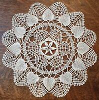 "Vintage Hand Crocheted Doily 12"" Hearts Starfish Center Design White Ecru Cream"