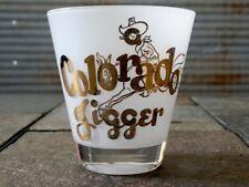 VINTAGE COLORADO JIGGER GLASS COCKTAIL MEASURING DRINK GLASS BAR DECO GOLD GILT