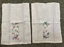 Set of 2 Vintage Linen Guest Towels Colorful Floral Madeira Embroidery Drawnwork