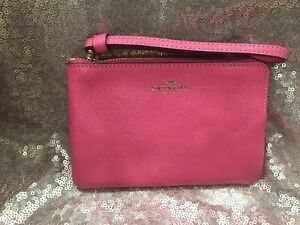 NWT Coach Corner Zip Wallet Wristlet with Coach Bag Pink Ruby F58032 MSRP $78