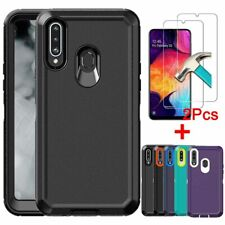 For Samsung Galaxy A20S Case Shockproof Hybrid Armor Case Cover+Screen Protector