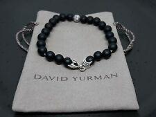 David Yurman Men's Sterling Silver 8mm Black Matte Spiritual Beads Bracelet 8.5