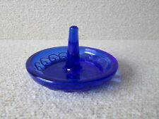 1 HTF Vintage Moon and Stars Pattern Glass LE Smith COBALT BLUE Ring Post Holder