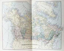 VECCHIO ANTICO MAPPA Canada Alaska c1880's da MACKENZIE originale stampato a colori