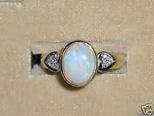 SOLID     14K  Gold     OPAL    Diamond     Ring
