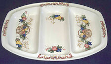 Fine Handpainted Ceramic Divided Serving Platter 3 Sections Tray Collectible