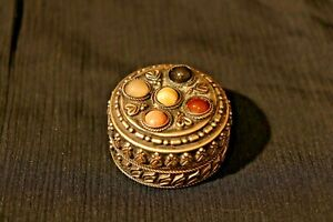 Vintage Round Jewelry Box Studded With Stone, Box Embossed Beautiful Gift, 19th