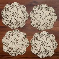 """4Pcs/Lot Round Vintage Hand Crochet Cotton Doilies Table Mats Lace Applique 8"""""""