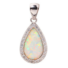 "White Fire Opal  Zircon Women Jewelry Gemstone Silver Pendant 1 1/8"" OD4339"