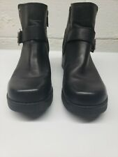 Harley Davidson 84180 Womens Leather Side Zip Slip On Black Ankle Boots Size 8.5