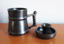 Prinknash Abbey Mug + Candleholder Gun Metal Grey Lustre Pewter Look England