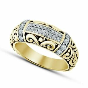 1.30 Ct Round Cut Diamond Engagement Wedding Men's Ring 14K Yellow Gold Over