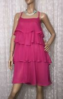 ANIMALE SIZE 8 FUCHSIA PINK TIERED CREPE DRESS IDEAL ,EVENTS PARTY ,COCKTAIL