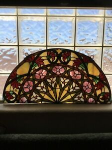 """Tiffany Style Stained Glass Panel Floral Wall Hanging Sun Catcher 24"""" Wide"""