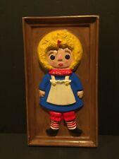 Vintage Raggedy Ann Plaster Ceramic Figure 1972 Wall Plaque Hanging