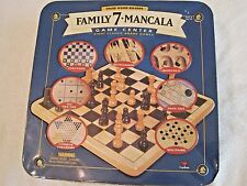 Family 7 + Mancala Game center 8 Classic Board Games 2 Solid Wood Boards in tin