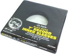 "(25) 7"" Record Inner Sleeves - Premium HEAVYWEIGHT Black Paper 45rpm ARCHIVAL"