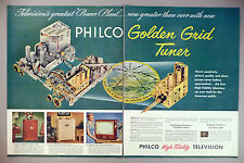 Philco TV Television 2-Page PRINT AD - 1952 ~~ Golden Grid Tuner