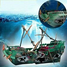 New Aquarium Ornament Ship Air Split Shipwreck Fish Tank Decor Sunk Wreck Boat