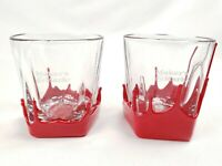 MAKERS MARK BOURBON WHISKEY Red Wax Plastic Dipped Tumbler Rocks Glass Set of 2