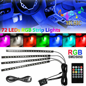 Car Interior Footwell 72 LED Strip Lights RGB Multicolour Remote Atmosphere Lamp