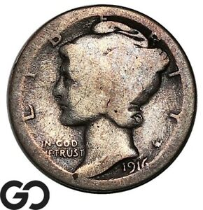 1916-D Mercury Dime, Highly Coveted Low Mintage Key Date