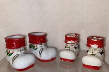 Vtg 4pc Mid-Century 50's Miniature Christmas Santa's Boots 2 Pairs Figurines