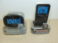 Lot of 2 NIP Sharp Digital Alarm Clocks Battery Operated Backlight Timer Calenda