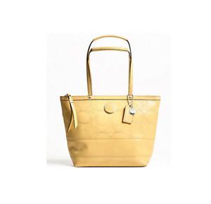 Coach Signature Op Art Patent Leather Book Tote Bag Shoulder Bag F19198