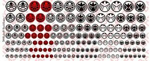 1/18 Scale Decals: Hydra and SHIELD logos - Waterslide Decals