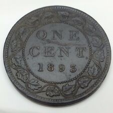 1893 Canada Copper Large One 1 Cent Canadian Circulated Penny Coin B839