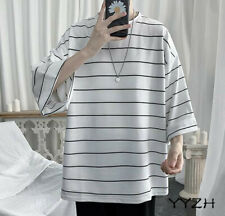 Men Fashion Crew Neck Tops T Shirt Striped Batwing-sleeved Cotton Summer Loose