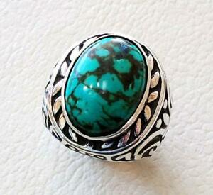 Men's 925 Silver Tibetan Turquoise Ring Handmade Christmas Gift Jewelry P1584