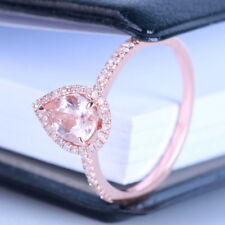 Solid 14K Rose Gold Claw Prong Setting Ring Pink Pear Real Morganite