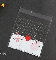 15 Self Adhesive Christmas Cellophane Party Favor Gift Bags 10cm x 10cm