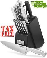 Knife Set, Cuisinart C77SS-15PK 15-Piece Stainless Steel Hollow Handle Block Set