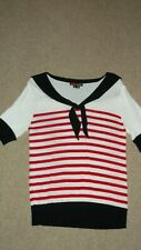 Lovely HELL BUNNY Knit jumper top NAUTICAL bow Red Stripe size S 10