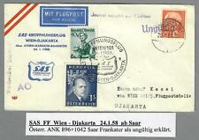1958, SAS Erstflug Wien-Djakarta, ab Saarland, ungültig (5176BP)
