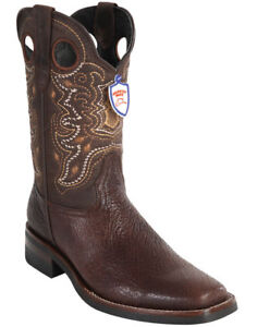 WILD WEST BROWN GENUINE SHARK COWBOY BOOT RODEO-SQUARE-TOE RUBBER SOLE (EE+)